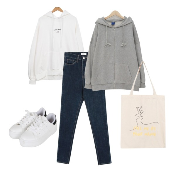 daily monday Stick denim skinny,BULLANG GIRL 애기자수후드티,From Beginning Simple boxy hood zip-up_K (size : free)등을 매치한 코디
