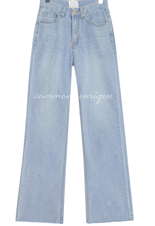 TROW STRAIGHT LONG DENIM PANTS