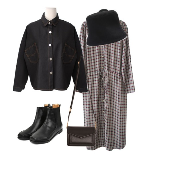 AFTERMONDAY soft check one-piece (2colors),openthedoor hexagon chelsea boots (2 color),BACHO 로이 셔츠 자켓등을 매치한 코디