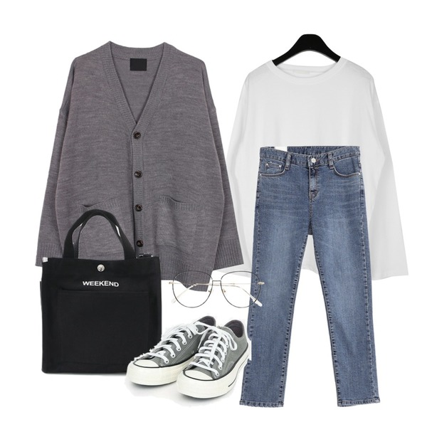 AWAB 투디일자팬츠,biznshoe Loose fit cardigan (3colors),daily monday Bella slit t-shirt등을 매치한 코디