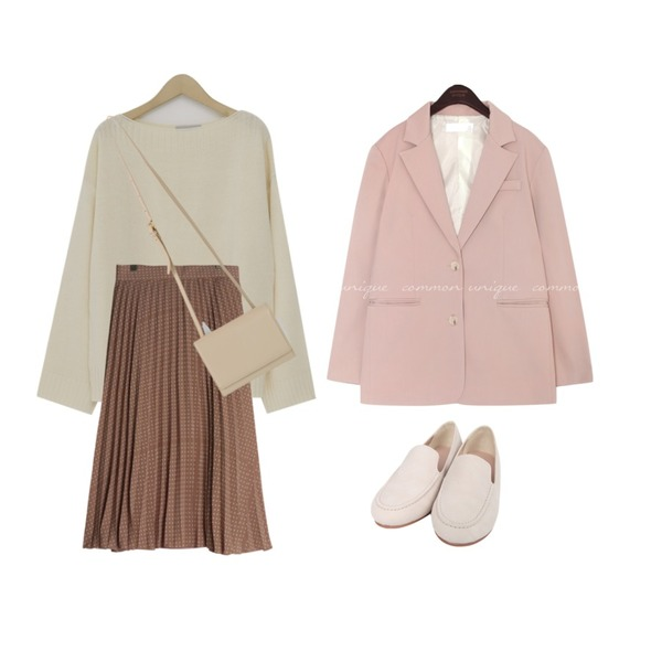 From Beginning Molly soft round knit_K (size : free),GIRLS RULE 도트 웨이브 플리츠스커트 (sk1660),common unique [OUTER] MUSH SET-UP SINGLE JACKET등을 매치한 코디