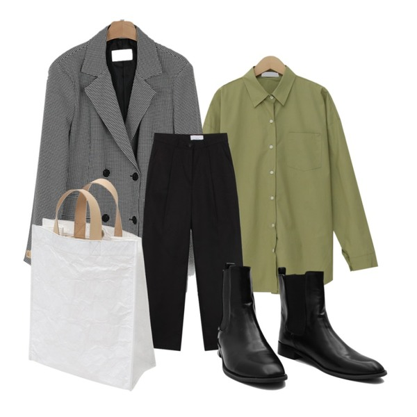 biznshoe Pintuck straight pants (4colors) * 컬러추가,From Beginning Milk simple cotton shirts_M (size : free),somedayif mark check over fit double jacket등을 매치한 코디