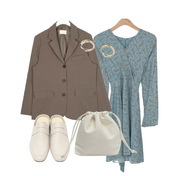 AIN howl 3-button jacket,From Beginning Lowell minimal bloafer_K (size : 230,235,240,245,250),BANHARU romantic flower ops등을 매치한 코디