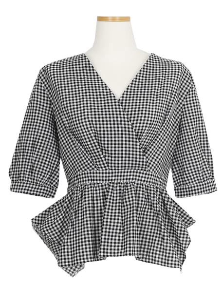Dyke Check Wrap Blouse