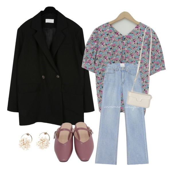 common unique TROW STRAIGHT LONG DENIM PANTS,daily monday Modern one button jacket,From Beginning Jasmine cotton puff blouse_S (size : free)등을 매치한 코디