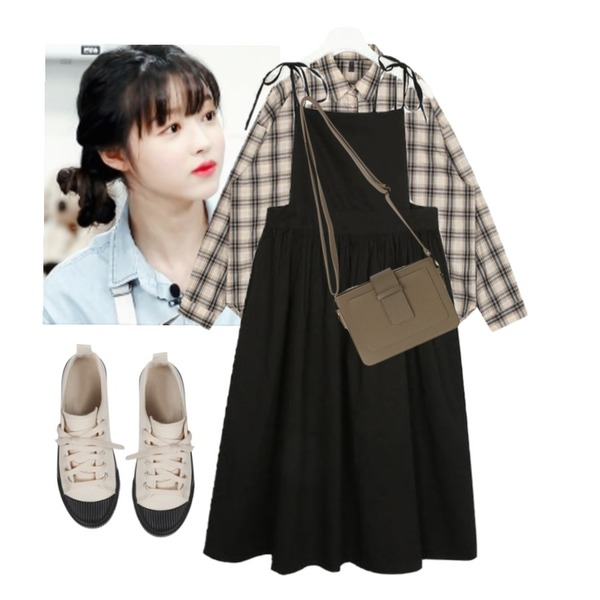AIN date lovely rope ops,AIN beaker check shirts,유아등을 매치한 코디