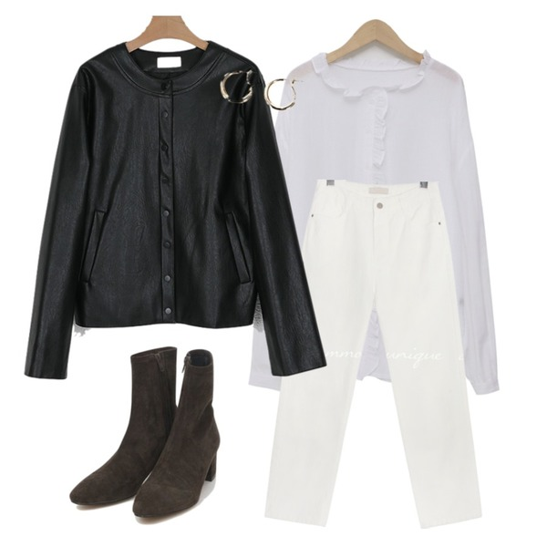 From Beginning Favour cotton frill blouse_J (size : free),common unique STICK OUT BAGGY COTTON PANTS,somedayif sander round leather jacket등을 매치한 코디