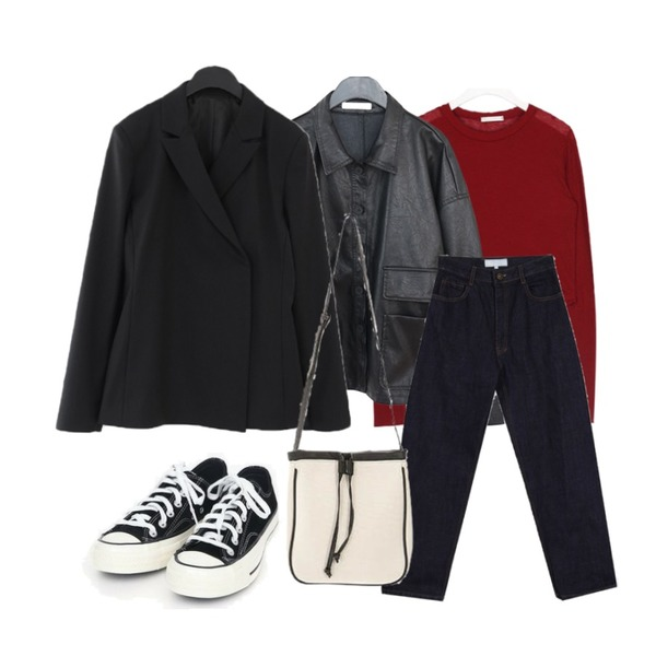 AIN coloring canvas sneakers (225-250),AFTERMONDAY flap pocket shirt jacket (2colors),AIN shine tencel crop T등을 매치한 코디