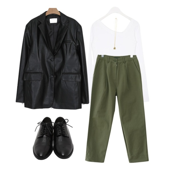 From Beginning Maintain hard loafer_S (size : 230,235,240,245,250),somedayif classic leather standard jacket (2colors),AIN unblance v-neck slim T등을 매치한 코디