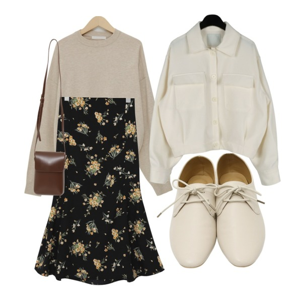 daily monday Marant casual pocket jacket,From Beginning Mell soft round knit_B (size : free),From Beginning Raise flower flare skirt_J (size : free)등을 매치한 코디