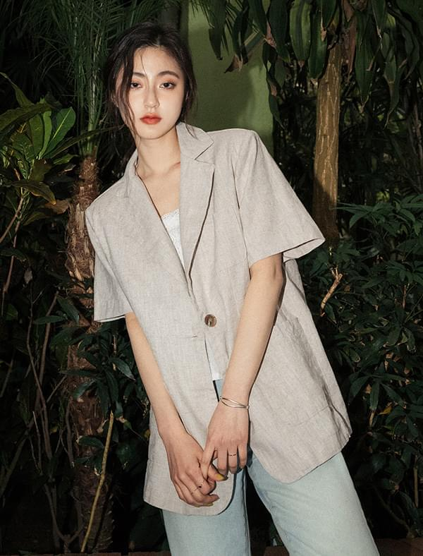 Daily trim linen short-sleeved jacket jacket
