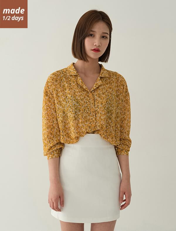 Open color flower blouse blouses