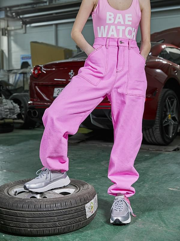 ACIDITY - STRAIGHT-FIT STRING PIGMENT PANTS (PINK)