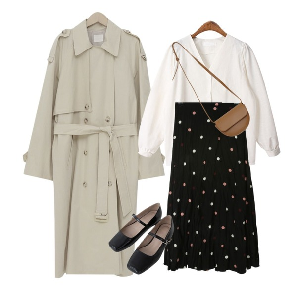 From Beginning Latte double trench coat_K (size : free),daily monday Crease dot long skirt,BACHO 크론 여리핏 블라우스등을 매치한 코디