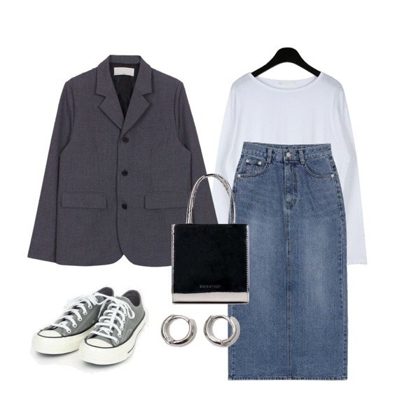 biznshoe Denim long skirt (2color),biznshoe Back button jacket (2color),daily monday Nana basic cotton t-shirts등을 매치한 코디