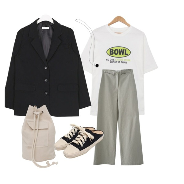 AIN butter simple jacket,AFTERMONDAY howell cotton pants (2colors),BULLANG GIRL 볼트라운드T등을 매치한 코디