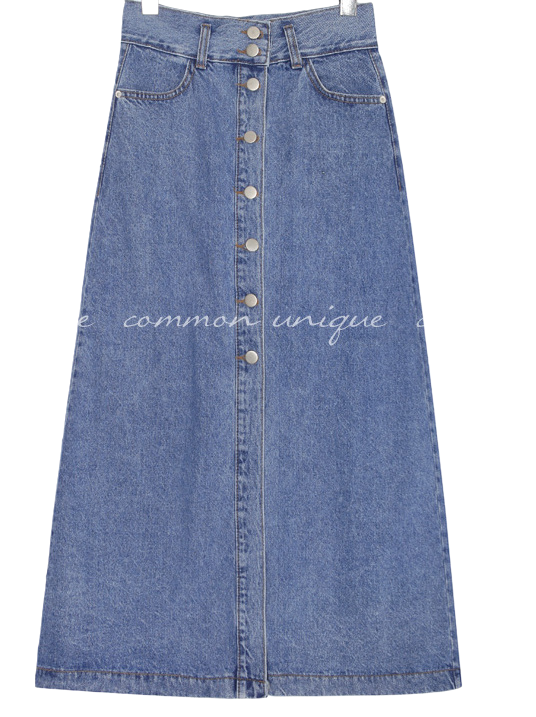 VENI BUTTON PINTUCK DENIM SKIRT