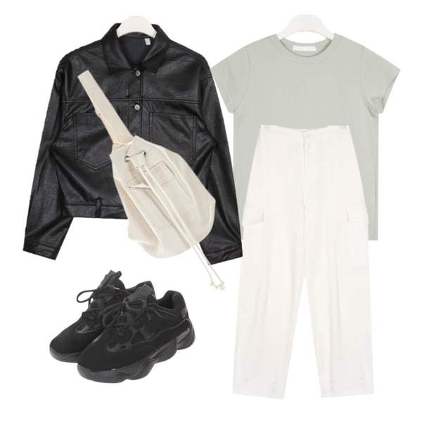 AIN macaroon leather jacket,AIN another jogger pants,AIN minimal color T등을 매치한 코디