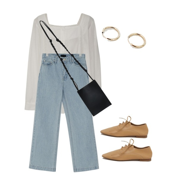 From Beginning Milk tea soft loafer_J (size : 230,235,240,245,250),From Beginning Made_top-203_square lace blouse_S (size : free),From Beginning Ocean light wide denim_S (size : XS,S,M,L,XL)등을 매치한 코디