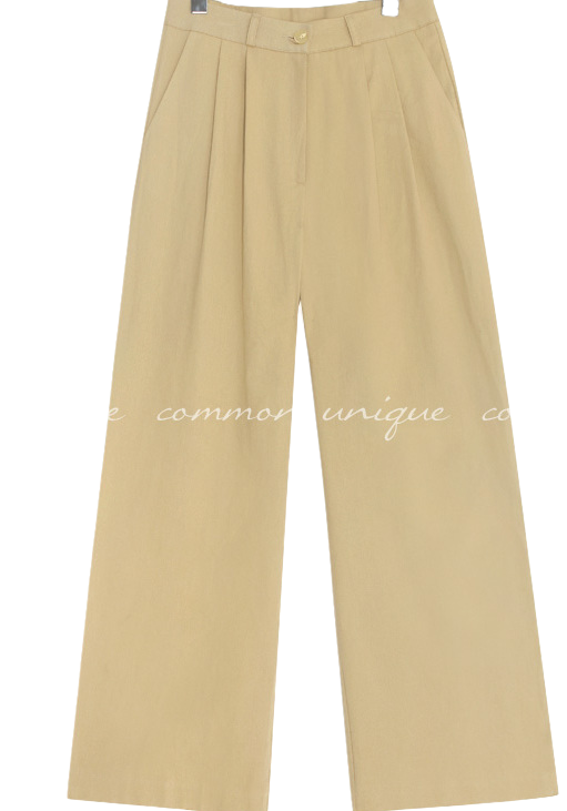 ICE PINTUCK WIDE COTTON PANTS