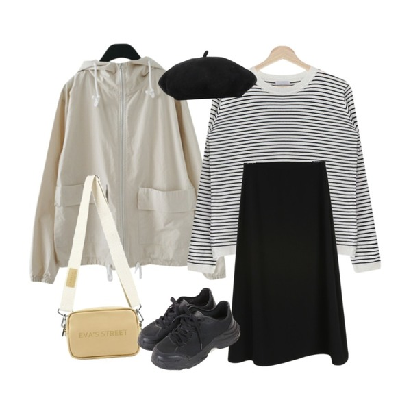 acomma 뮤엘 스트라이프 - nt (6COLOR),daily monday Blow flare long skirt,AFTERMONDAY color hood jumper (4colors)등을 매치한 코디