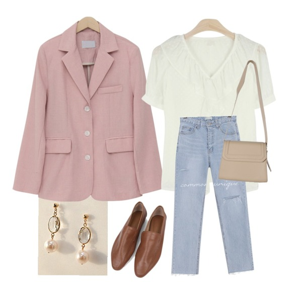 common unique [JEWELRY] CLEAR CRYSTAL PEARL EARRING,GIRLS RULE 팅커벨 프릴 반팔 블라우스 (bl847),From Beginning Vivian single linen jacket_B (린넨 60%) (size : free)등을 매치한 코디