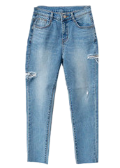 Deep-top denim pants