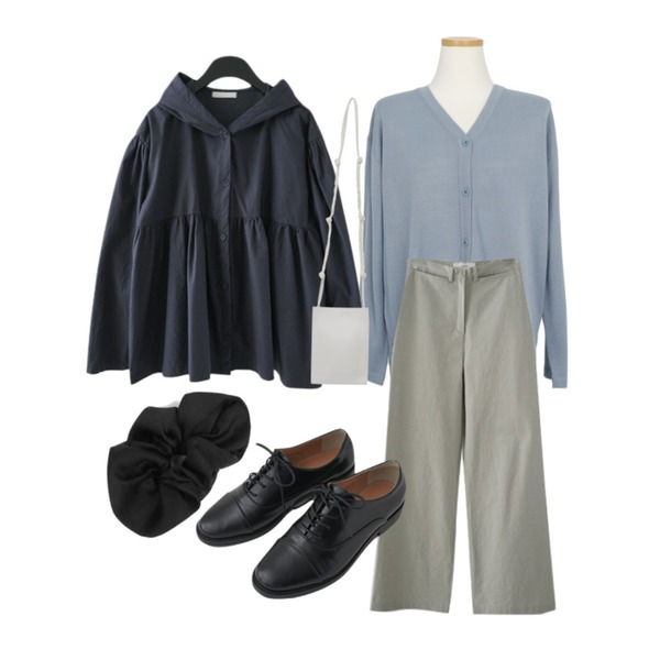 AFTERMONDAY howell cotton pants (2colors),AWAB 칵테일니트가디건티,AFTERMONDAY girlish puff blouse jumper (2colors)등을 매치한 코디