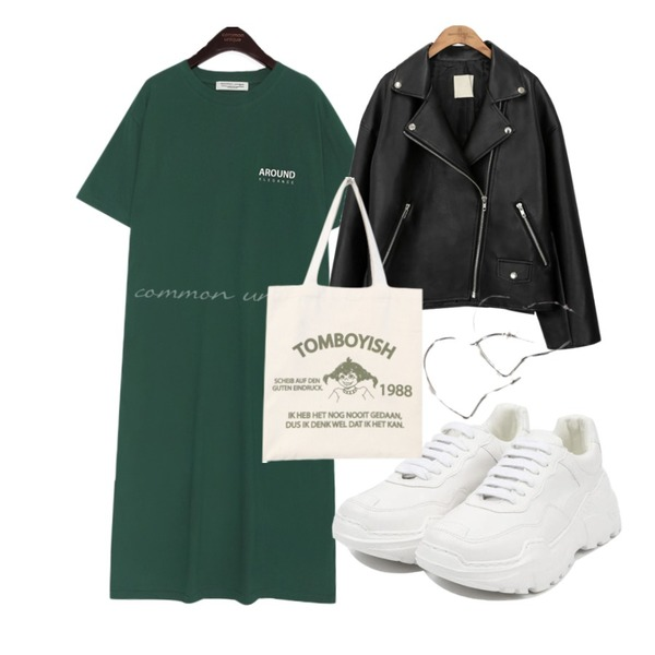 common unique [OUTER] BLACK PLAT RIDER JACKET,openthedoor candy platform sneakers (5 color),common unique AROUND LETTERING SLIT LONG OPS등을 매치한 코디