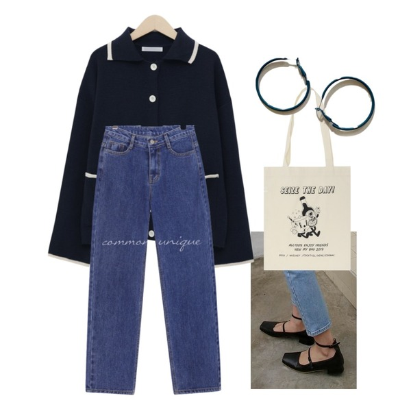 daily monday Ankle strap square flats,common unique FIX WIDE BAGGY DENIM PANTS,From Beginning Forest pocket collar cardigan_B (size : free)등을 매치한 코디