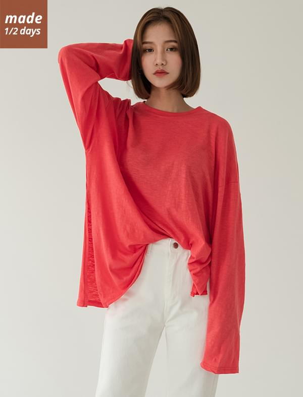 Side loose loose-fit cotton tea Long Sleeve