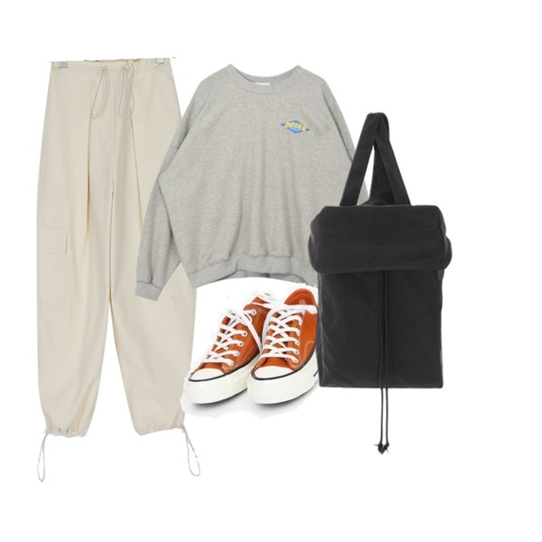 AIN coloring canvas sneakers (225-250),MIXXMIX 지구 박시 맨투맨,somedayif string cotton jogger pants (2colors)등을 매치한 코디