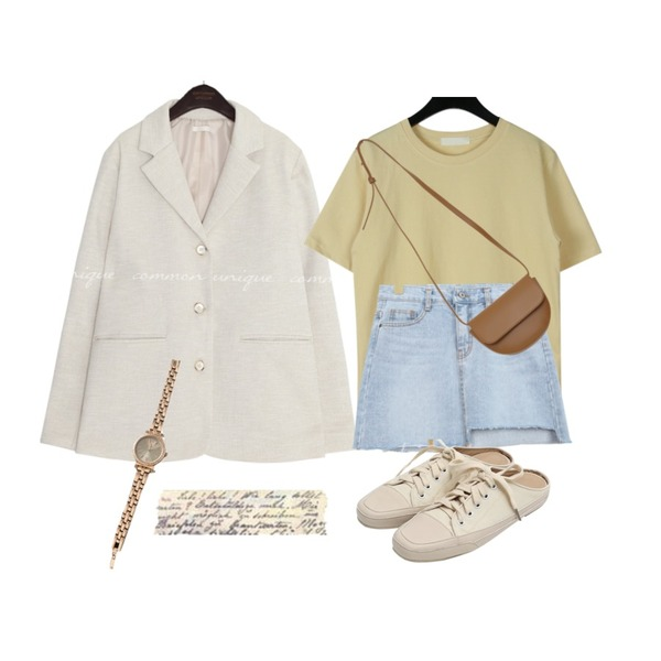 BULLANG GIRL 쁘띠큐티언발SK,daily monday Lewis basic t-shirt,common unique CREED LINEN SINGLE JACKET등을 매치한 코디