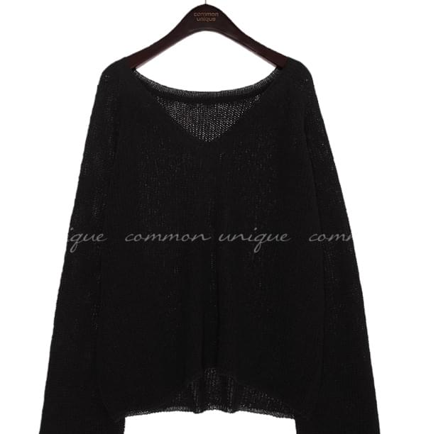 SULLY V NECK SEETHROUGH KNIT
