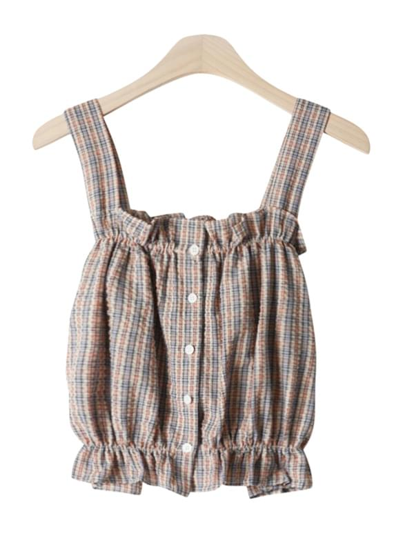 Mini check sleeveless blouse