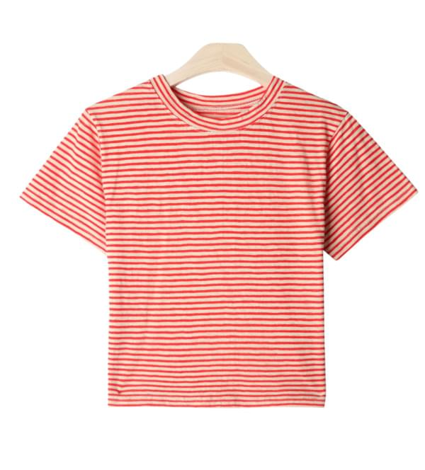 Candy striped short-sleeved polo shirt