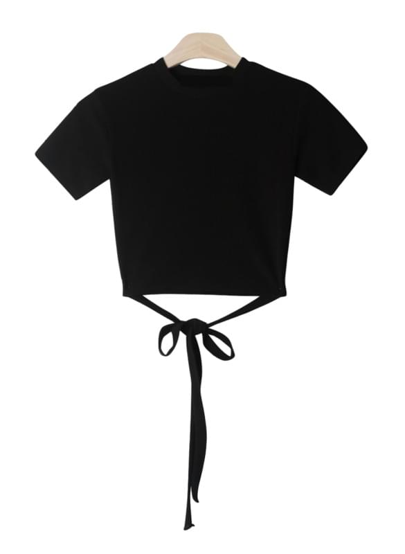 Cropped short-sleeved polo shirt