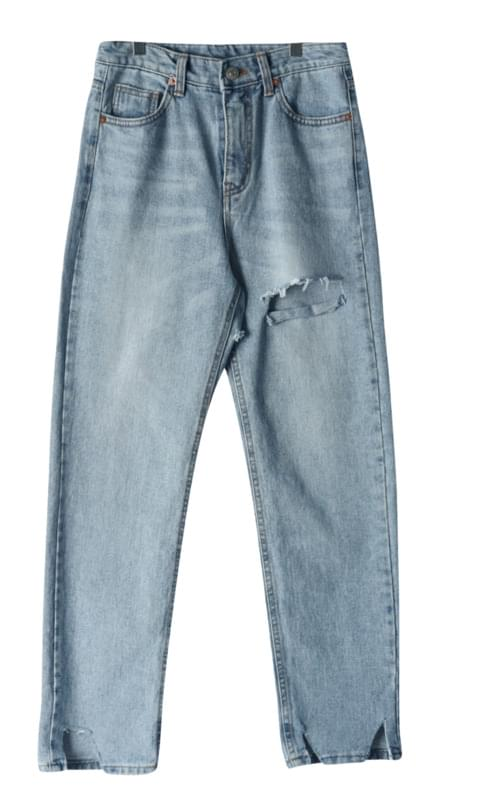 Square cut back denim pants