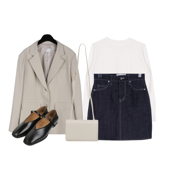 biznshoe Soft round knit (11colors),daily monday Formal over jacket,daily monday Linen denim mini skirt등을 매치한 코디