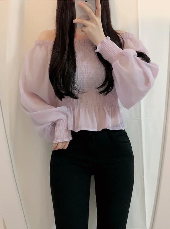 Pastel smoked off shoulder blouse / first week of May delivery sequentially!