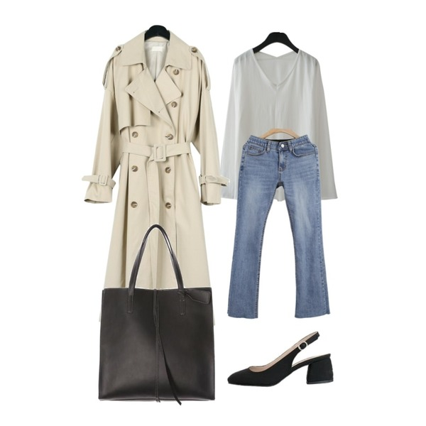 daily monday Over casual trench coat,WHOSGIRL 속밴딩 슬림부컷-7342,AFTERMONDAY over fit V-neck cotton top (3colors)등을 매치한 코디