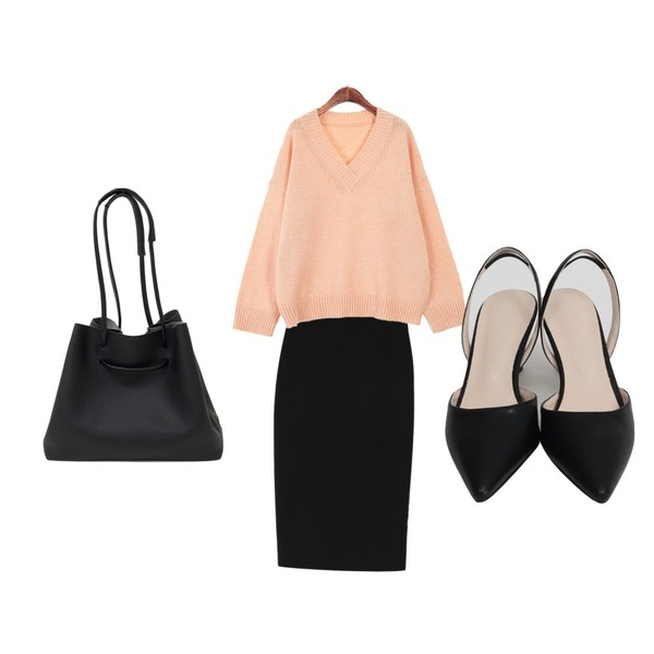 ROCOSIX 머랭 브이 니트,From Beginning Sling back stiletto shoes_Y (size : 225,230,235,240,245,250),From Beginning Minimal H-line span skirt_Y (size : S,M)등을 매치한 코디