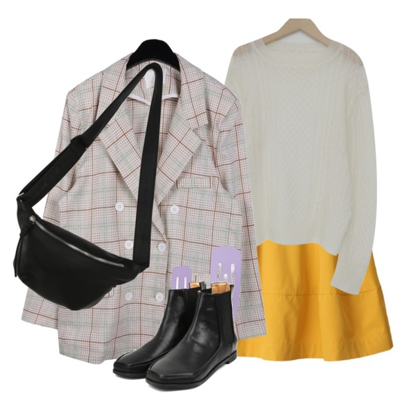 From Beginning Curl hair see-through knit_Y (size : free),BACHO 마타하 플레어 스커트,daily monday Modern linen check jacket등을 매치한 코디