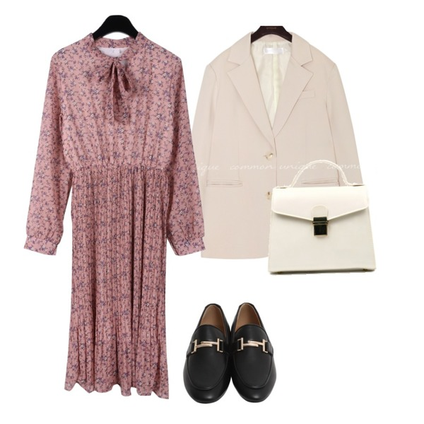 From Beginning Classic mood buckle loafer_B (size : 225,230,235,240,245,250),common unique [OUTER] MUSH SET-UP SINGLE JACKET,daily monday Flowers ribbon pleats dress등을 매치한 코디