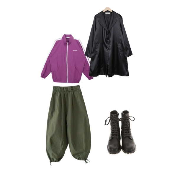 From Beginning Made_outer-055_satin single coat (size : free),AFTERMONDAY string line detail pants (3colors),MIXXMIX 테일 라인 집엎등을 매치한 코디