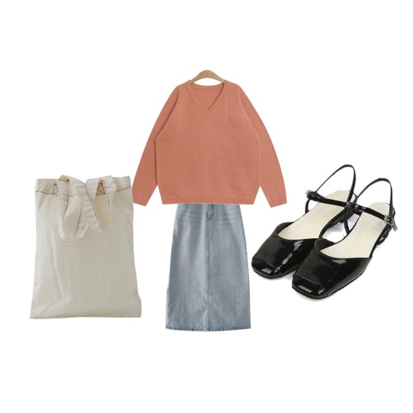 TODAY ME 베키 니트,AFTERMONDAY light washing H-line skirt,AIN more shine strap shoes (230-250)등을 매치한 코디