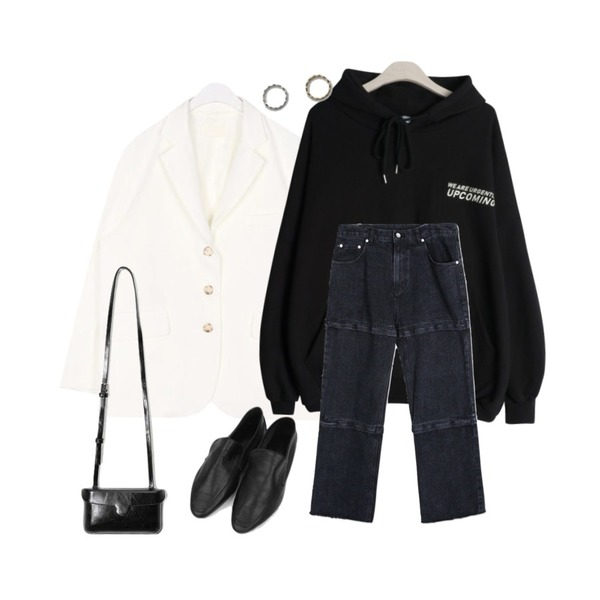 GIRLS RULE 커밍 백 프린트 후디 (t5974),AIN have boxy fit jacket,openthedoor cut-off pointed denim pants (3 color) - UNISEX등을 매치한 코디