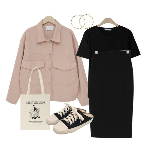 From Beginning Milk color cotton jacket_K (size : free),GIRLS RULE 베이직 컬러 반팔 티셔츠 (t6235),From Beginning Minimal H-line span skirt_Y (size : S,M)등을 매치한 코디