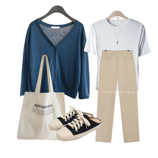 AFTERMONDAY apartamento shoulder bag (3colors),AFTERMONDAY snug linen cardigan (4colors),GIRLS RULE 데일리 골지 반팔 티셔츠 (t6254)등을 매치한 코디