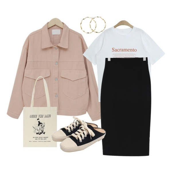 From Beginning Milk color cotton jacket_K (size : free),TODAY ME 코스틴 티셔츠,From Beginning Minimal H-line span skirt_Y (size : S,M)등을 매치한 코디